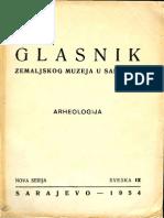 Glasnik Zemaljskog Muzeja u Sarajevu 1954 - Arheologija