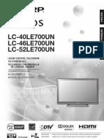 Sharp AQUOS LC-[40/46/52]LE700UN Operation Manual