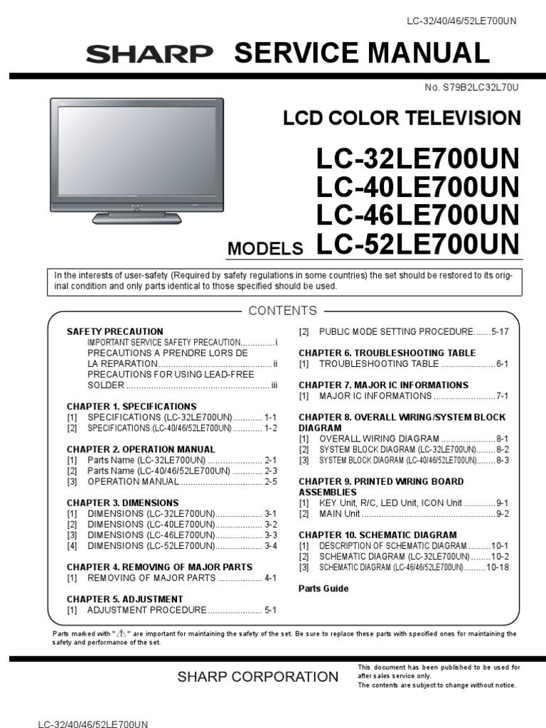 sharp aquos lc 32 40 46 52 le700un service manual rh scribd com sharp aquos 65 smart tv manual sharp aquos 65 smart tv owners manual
