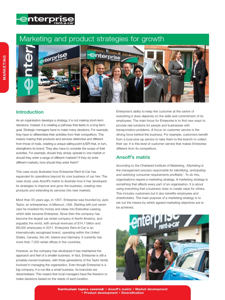 rent a car case study Enterprise rent-a-car case analysis poor communication is a very common problem in the workplace enterprise rent-a-car is the industry leader.