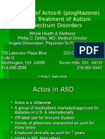 The Use of Actos® (pioglitazone) in the Treatment of Autism Spectrum Disorders