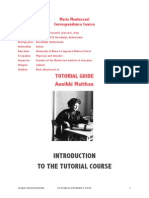 Tutorial Course Introduction for Maria Montessori Education from birth to 6 years