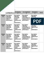 Table Analytic Rubric