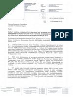Surat Siaran Lembaga Peperiksaan Bilangan 8 Tahun 2013 berkenaan Pentaksiran Pusat Dalam Pentaksiran Berasaskan Sekolah (PBS) di Peringkat Menengah Rendah Mulai Tahun 2014