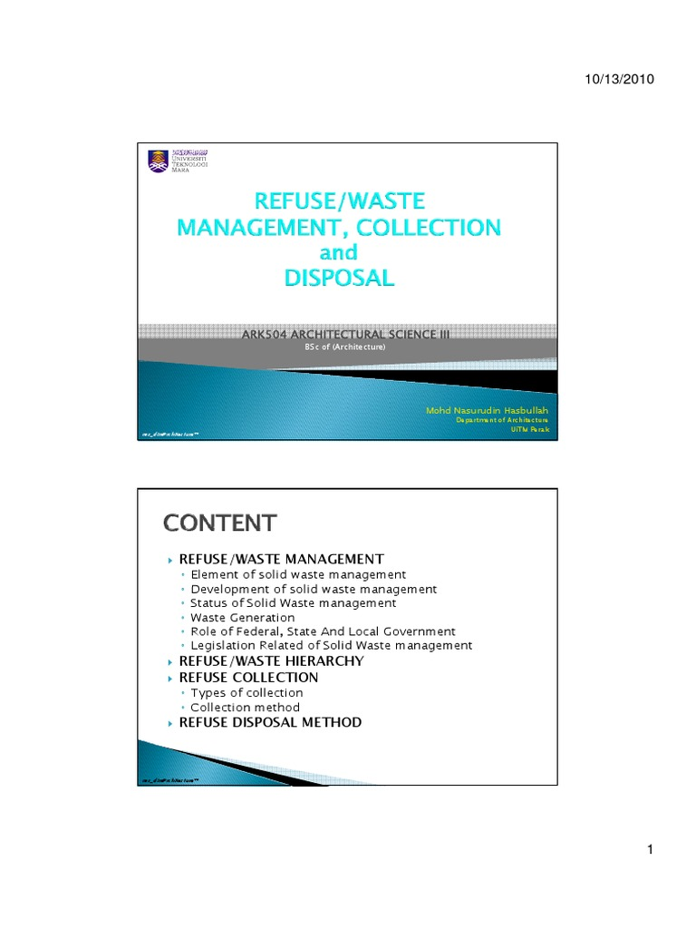 Refuse | Waste Management | Economy And The Environment