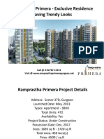 Ramprastha Primera - Sector 37D Gurgaon - Ramprastha Group's Call @ 0-92787-19191