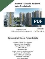 Ramprastha Primera - Sector 37D Gurgaon - Ramprastha Group's Call @ 0-92787-19191