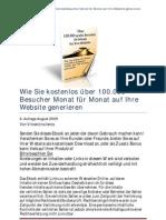 Ueber 100000 GRATIS Besucher Im Monat fuer die Homepage