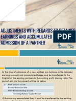 Adjustments With Regards To Retained Earnings and Accumulated Losses – Admission of a Partner