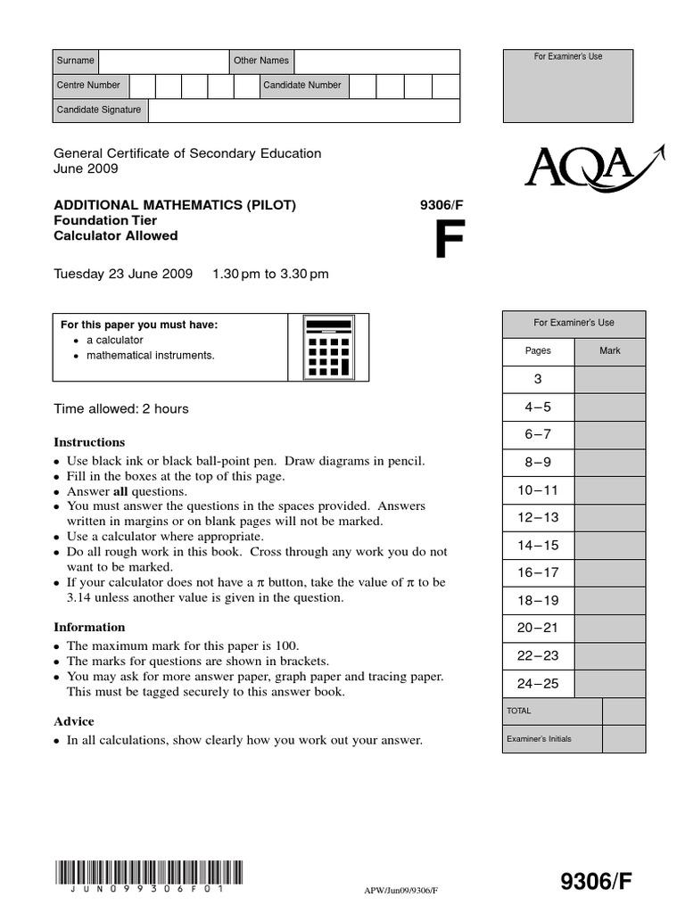AQA GCSE Additional Maths 09 June Paper (Foundaion) | Elementary Geometry |  Geometry