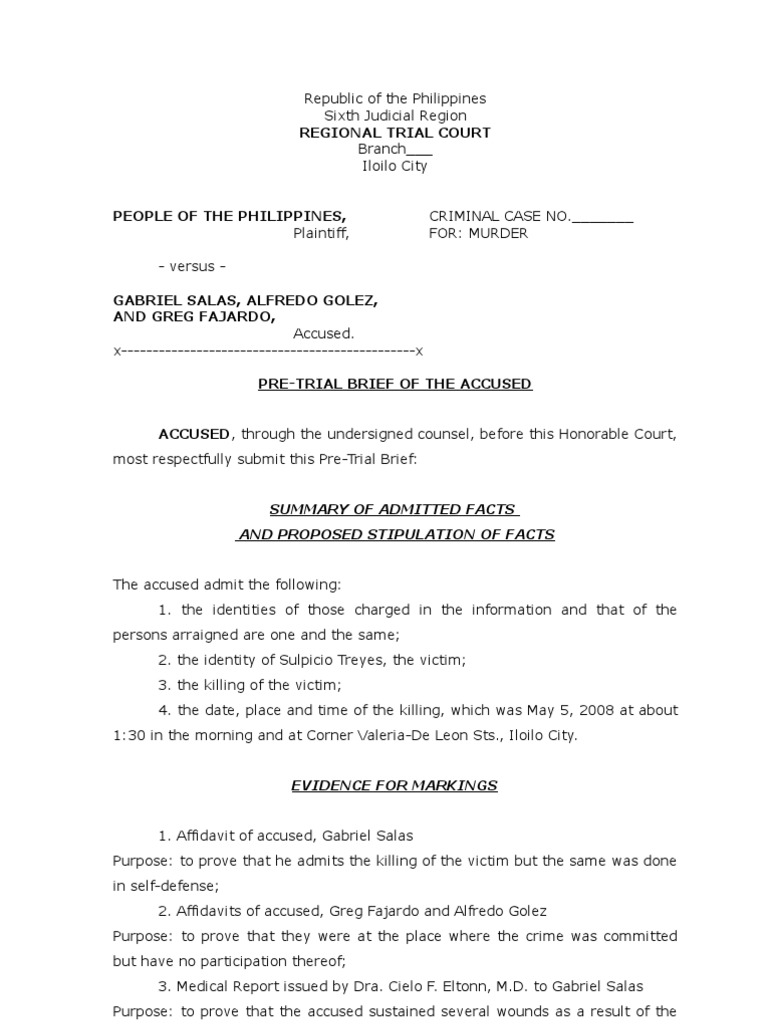 pre trial brief sample Getting ready for a formal trial view video: how do i fill out the pre-trial brief plus if you are getting a divorce, you will need to file with your trial brief.