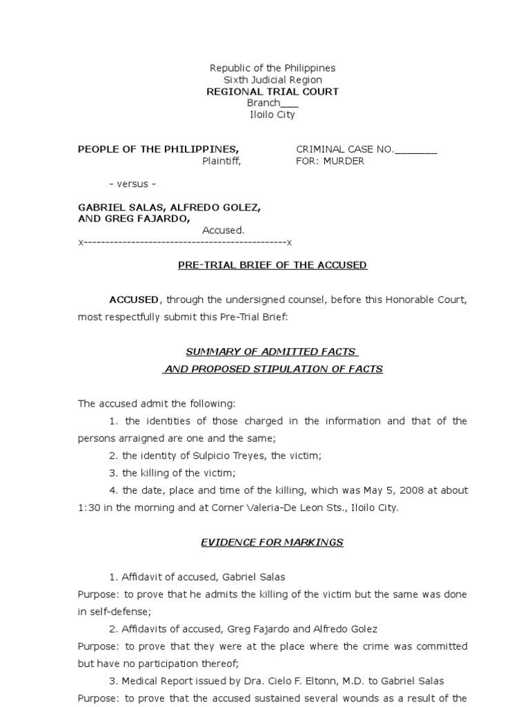 Sample Of Pretrial Brief For The Defense Criminal Procedure