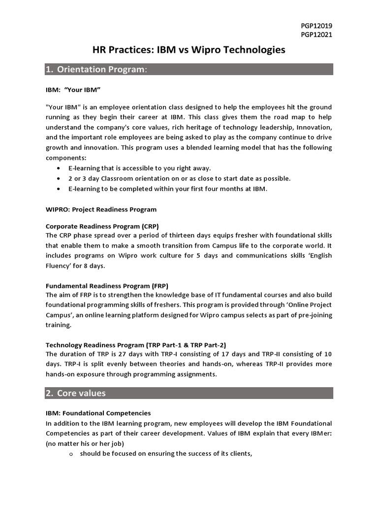 HR Practices- IBM vs Wipro | Employee Benefits | Insurance