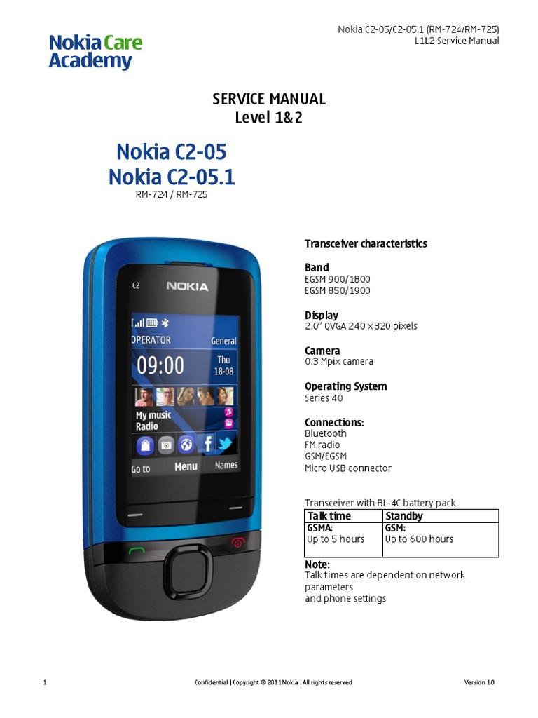 nokia c2 05 rm 724 725 service manual electrostatic discharge rh scribd com Nokia C3 Nokia C2 05 Sim Solution
