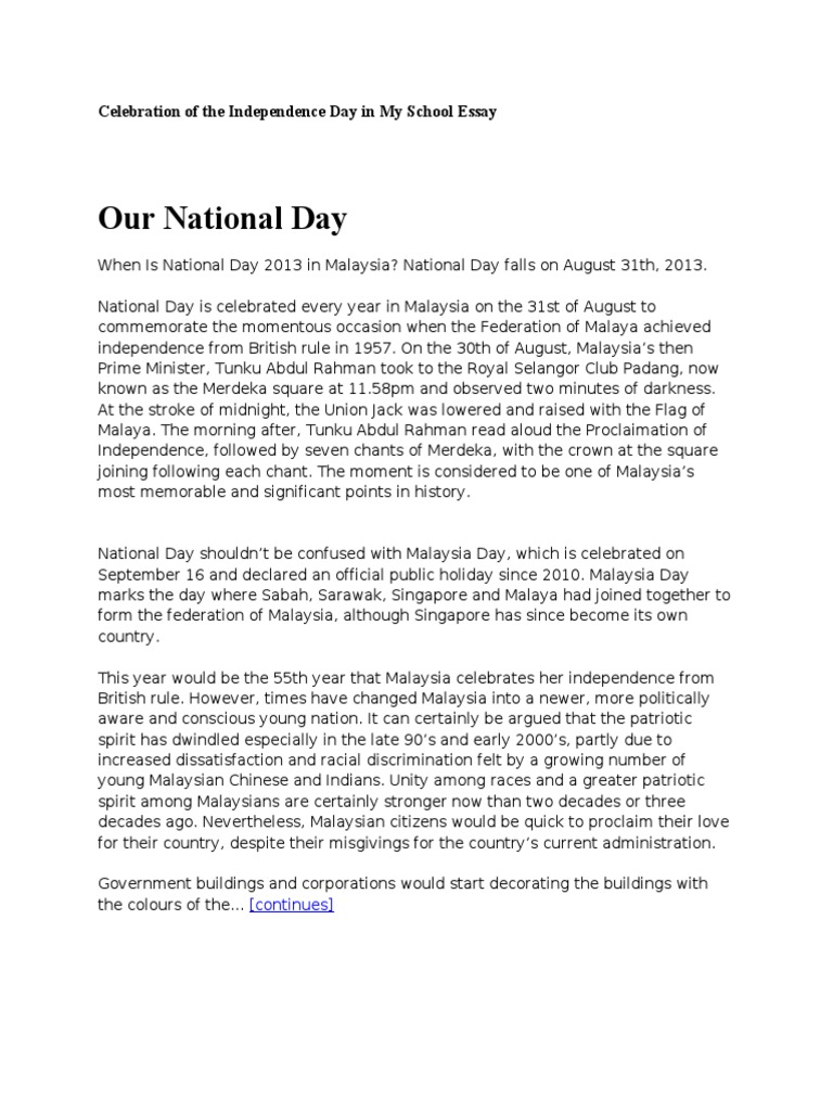 Celebration of the Independence Day in My School Essay | Malaysia ...