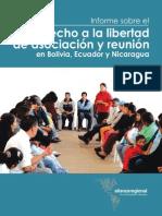 Informe El derecho a la libertad de asociación y reunión en Bolivia, Ecuador y Nicaragua