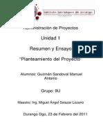 Administracin de Proyectos Unidad 1