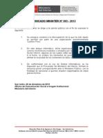COMUNICADO MININTER N° 003 - 2013
