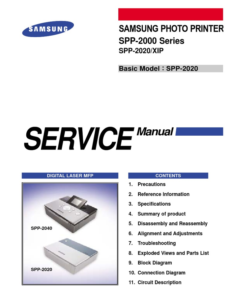 samsung spp 2000 and spp 2020 xip service manual electrostatic rh scribd com Brother Printer Hll8350cdw Service Manual Dell Printer Service Manuals