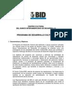 Bases para la convocatoria anual 2014 de desarrollo cultural BID.