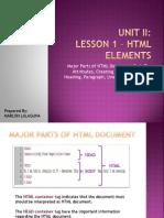 Unit II - Lesson 1 - HTML Elements
