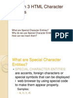 Unit II - Lesson 3 - HTML Character Entities