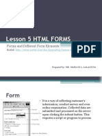 Unit II - Lesson 5 - HTML Forms