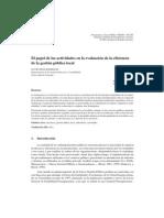 ORTIZ RODRÍGUEZ, David. El papel de las actividades en la evalución de la eficiencia de la gestión pública local