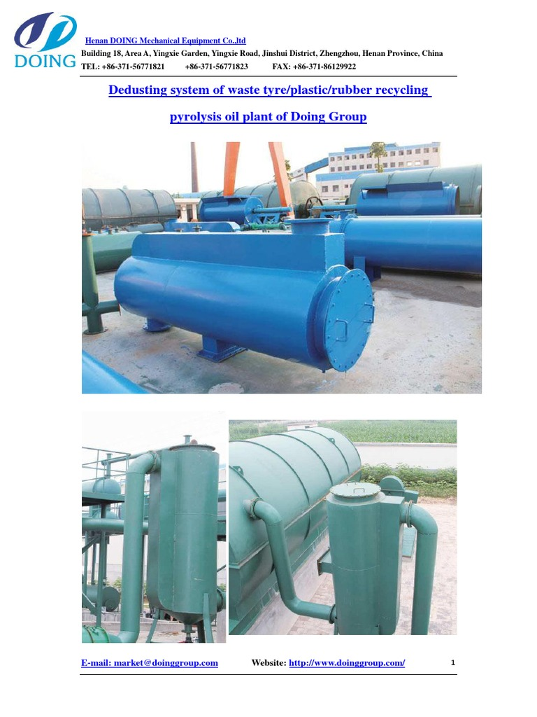 Dedusting system of waste tyre/plastic/rubber recycling pyrolysis