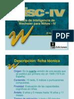 ESCALA DE INTELIGENCIA DE WECHSLER para niños IV. 2005