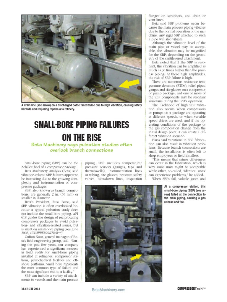 Small Bore Piping Failures Software Testing Gas Compressor Layout Techniques