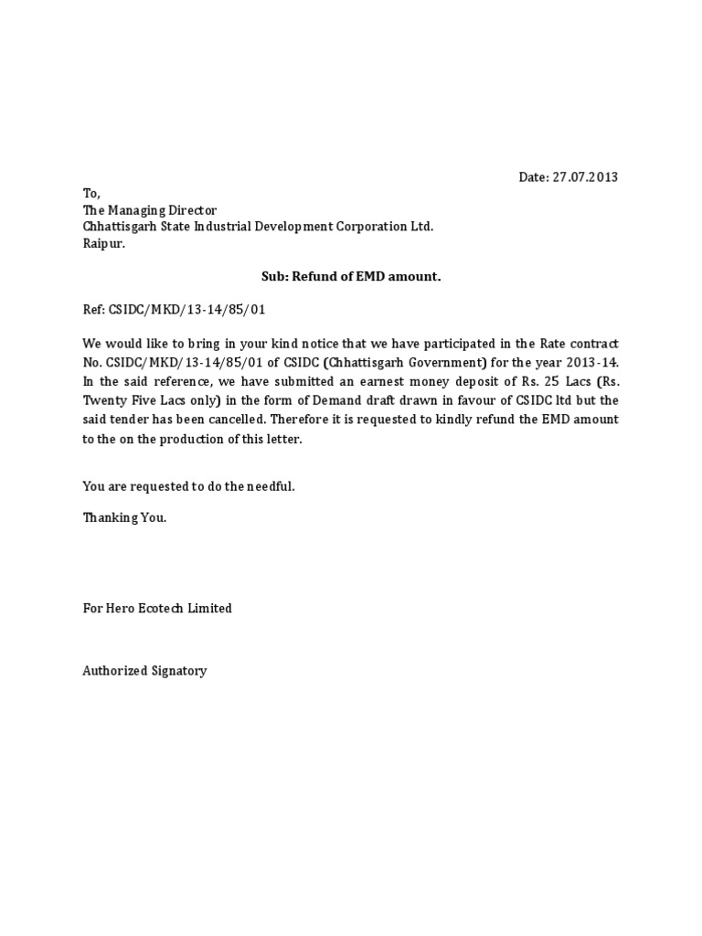 Letter For Refund Of EMD on Industrial Property For Lease