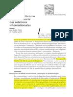 Le constructivisme dans la théorie des relations internationales