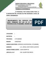TÉRMINOS DE REFERENCIA PARA I.E 2014