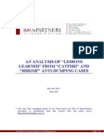 An Anylysis of Lessons Learned From Antidumping Case