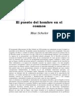 Scheler, M., El Puesto Del Hombre en El Cosmos