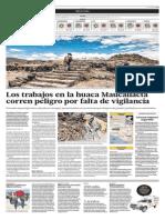 Los trabajos en las ruinas de Maucallacta corren peligro por falta de vigilancia - El Comercio (27-12-2013)