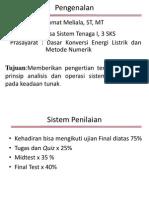 Analisa Sistem Tenaga I Pertemuan I