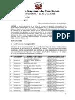 Resolución N°1133-2013-JNE