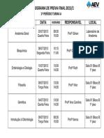 Cronograma de Prova Final 2013-1