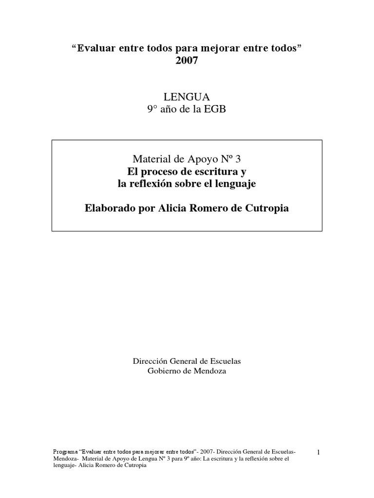 Romero de Cutropia, Alicia - El proceso de escritura y la reflexión ...