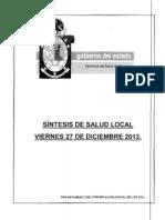 27 DICIEMBRE 2013 SÍNTESIS DE SALUD LOCAL
