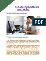 PROPOSTA DE TRABALHO DE DIGITAÇÃO