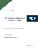 Developpement Des Usages Mobiles Et Principe de Sobriete - Rapport Final