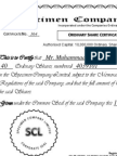 Specimen of Share Certificate