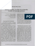 Roberto Murillo y Los Fines de La Filosofia. a Modo de Homenaje Postumo