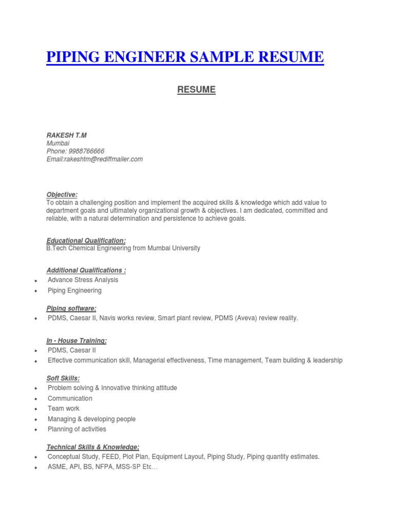 piping layout engineer resume piping designer sample cv specification  technical standard  piping designer sample cv