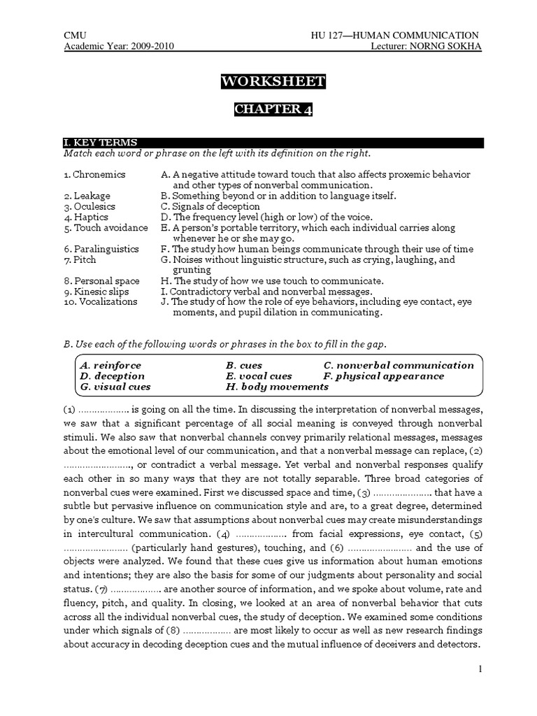 Worksheet Chapter 4 Nonverbal Communication – Non Verbal Communication Worksheets