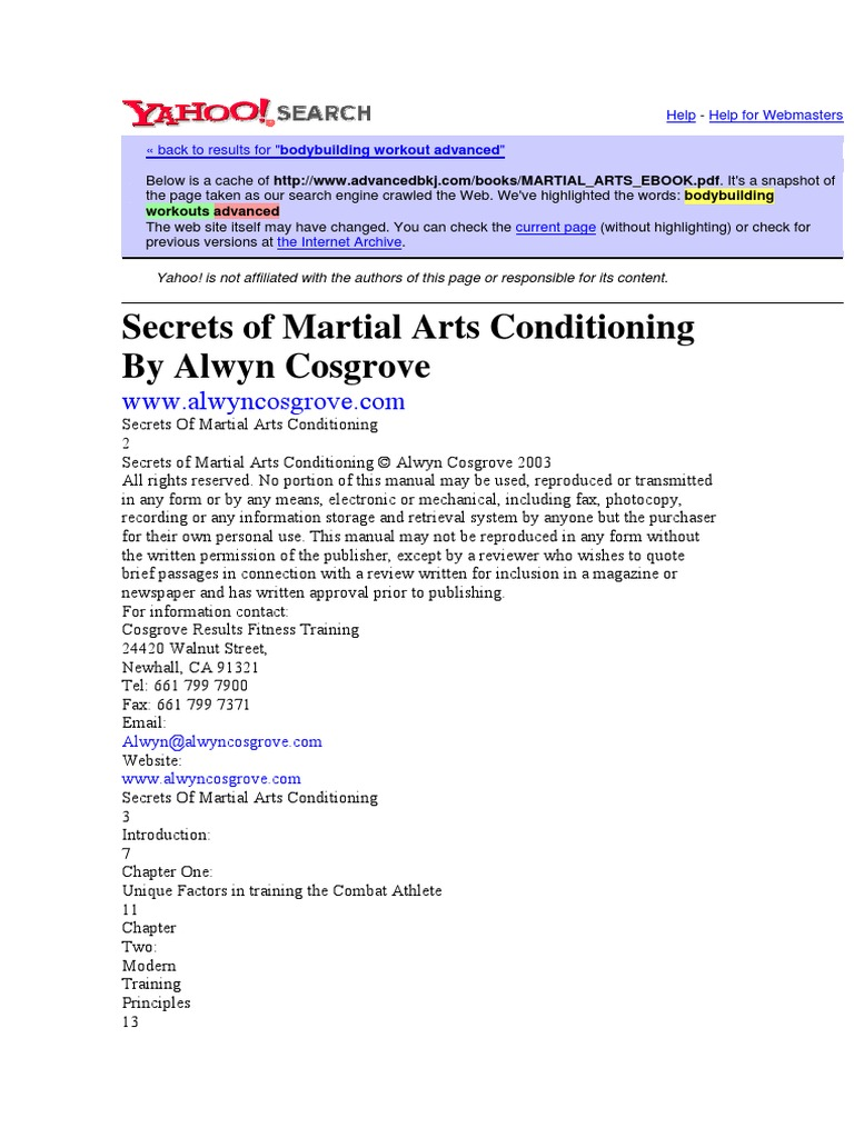 Secrets of Martial Arts Conditioning by Alwyn Cosgrove