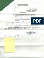 RTI response from Transport Dept
